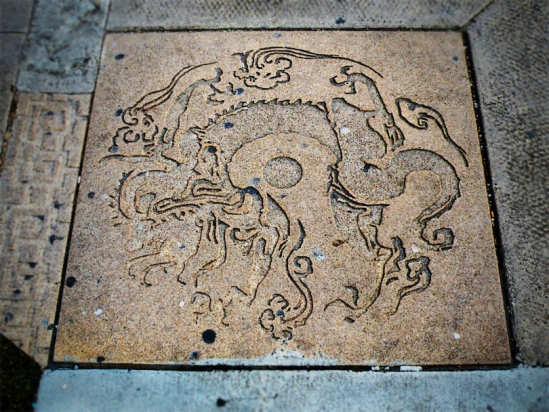 At the corner of 23rd and Wentworth Avenue, this carved dragon sidewalk inset intrigued me...but not any of the other passersby!