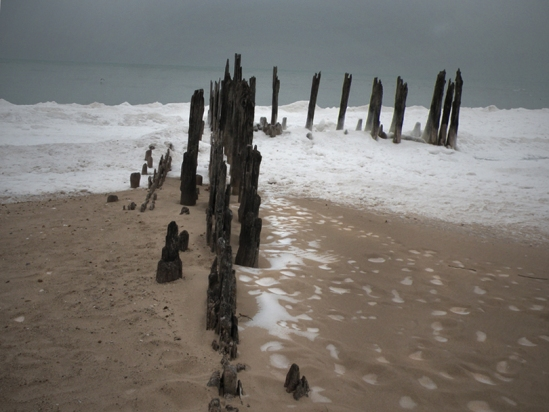 Here's my image of 'straddling' the pier remnants...normally, I would be standing in several feet of water!
